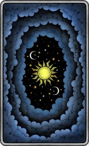 The Dark Mansion Tarot deck - Regular Version 3rd. Edition - Black edges, blue reverse of cards (clouds)